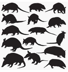 armadillos silhouettes vector image