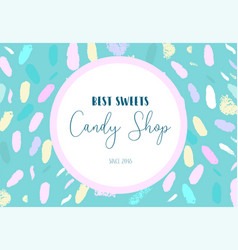 Artistic banner brush stroke candy shop vector