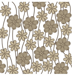 Background in grayscale of creepers with flowers vector