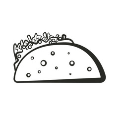 Black isolated outline taco icon vector