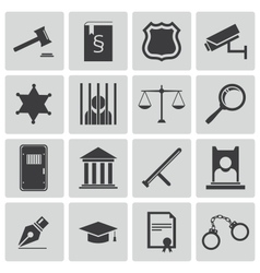 Black justice icons set vector