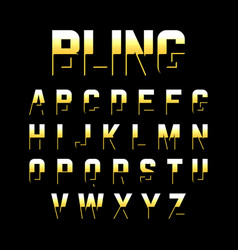 Bling style font with relection vector