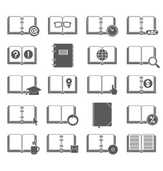 Books and Symbols Icons Set vector image