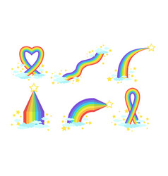 bright rainbows various in sky with louds vector image