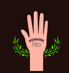 Brown poster with sparks and hand open palm symbol vector