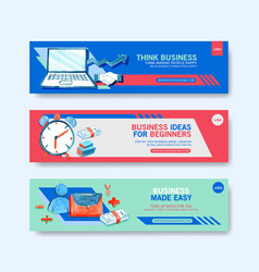 Business banner design with watercolor painting vector