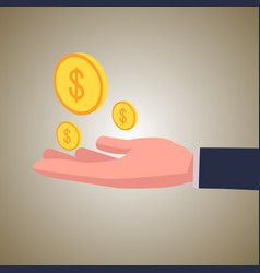 business hand with dollar coin investment vector image