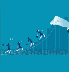 businesswoman up toward target concept business vector image