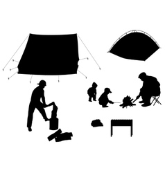 Camping with children vector