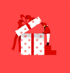 Christmas gift box concept kid opening present vector
