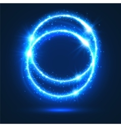 Circles of neon light flashes and sparkles vector image