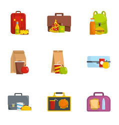 collect food icons set cartoon style vector image