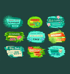 collection discount emblems off summer sale advert vector image
