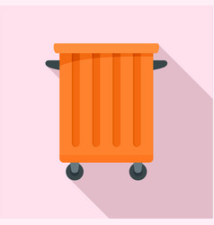 Commercial trash container icon flat style vector