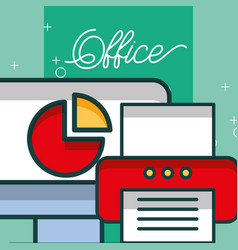 computer chart diagram printer document office vector image