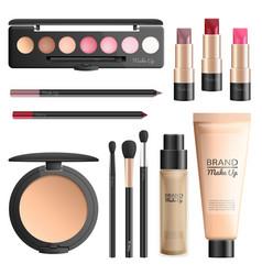 cosmetics and makeup tools realistic set vector image