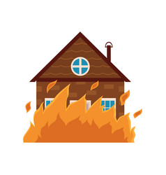 cottage house burning fire insurance concept icon vector image