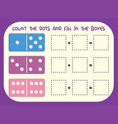 Count dots worksheet vector