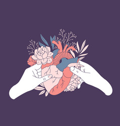 Couple hands holding an anatomic heart with floral vector