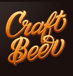 craft beer typography lettering with beer vector image