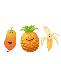 Cute fruits peeled banana pine apple papaya vector