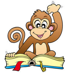 cute monkey reading book vector image