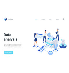 data analysis isometric landing page 3d analysts vector image