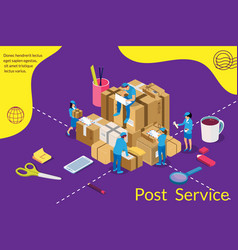 delivery and post service concept isometric post vector image