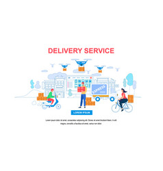 delivery service horizontal banner with copy space vector image
