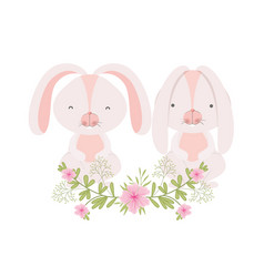 easter bunnies with flowers isolated icon vector image