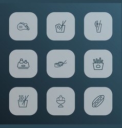 eating icons line style set with chinese food vector image
