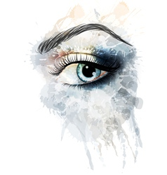 Eye made of watercolor splashes vector