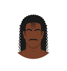 face black man with retro hairstyle long curly vector image