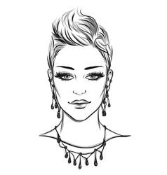 fashion portrait lineart vector image vector image