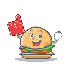 Foam finger burger character fast food vector