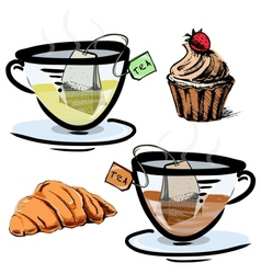 Green and black tea in glass cups with sweets vector image