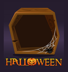 Halloween wooden frame avatar blank template vector