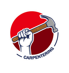 Hand grab hammer carpentering badge vector