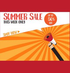 hand holding megaphone to speech - summer sale vector image