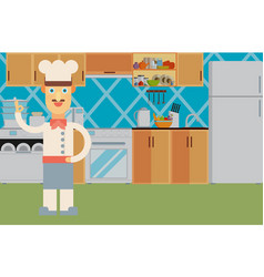Happy chef at the kitchen interior flat vector
