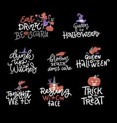 happy halloween overlays lettering labels design vector image
