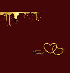 happy valentines day gold greeting card vector image