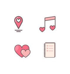 Heart decorated icons vector