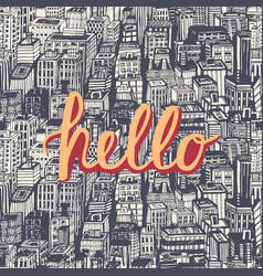 Hello quote hand lettering vector