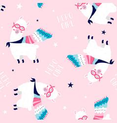 hero llama seamless pattern for girls vector image