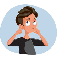 Indifferent teen boy covering his ears vector