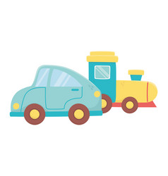 kids toy blue car and train plastic objects vector image
