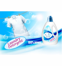 Laundry detergent ads plastic bottle and white vector