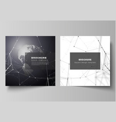 Layout of two square format covers design vector