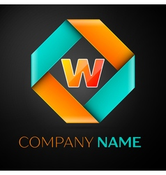Letter W logo symbol in the colorful rhombus on vector